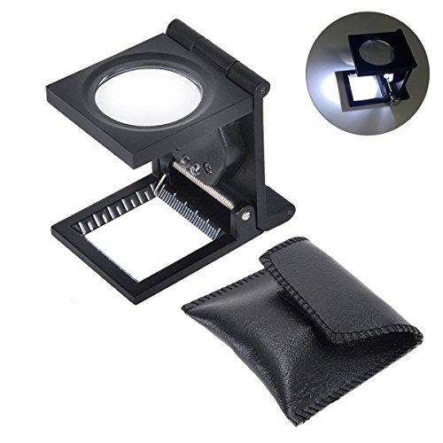Yosoo Lupa portátil de aleación de zinc de 10 x 28 mm lupa de vidrio de lectura plegable de broma con luz LED, utilizada para la reparación de joyas con 3 lentes