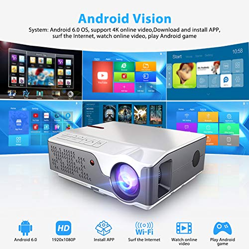 GBBG Full HD 1080P Projektor TD96 Optional Android WiFi LED Proyector India 1920 x 1080p 3D-Heimkino-Smart-Phone Beamer, kompatibel mit HDMI/VGA/USB/AV, TV-Stick, PS4 Etc.