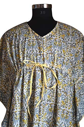 Handicraft Bazarr Indischer Kaftan Tunika, Blockdruck, Baumwolle, Kaftan, Damen, sexy Abaya-Kleid, Strand-Wickeln, Damen, Baumwolle, freie Größe, langes Kimono, Maxikleid