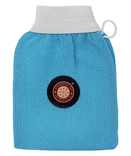 Gants de Gommage Kessa Marocain Bleu pour l'exfoliation de la peau. Marque: Essence of Morocco (1 Gant)