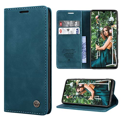 RuiPower Kompatibel für Huawei P30 Hülle Premium Leder PU Handyhülle Flip Hülle Wallet Lederhülle Klapphülle Klappbar Silikon Bumper Schutzhülle für Huawei P30 Tasche - Blaugrün