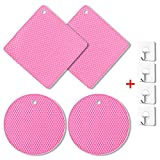 Silicone Trivet Mats Hot Pot Holder Dish Drying Sink Mat Heat Resistant 440°F Non-slip Durable Flexible Easy to Wash and Contains Pad 7 Inch 4 pcs Multipurpose Kitchen Tool