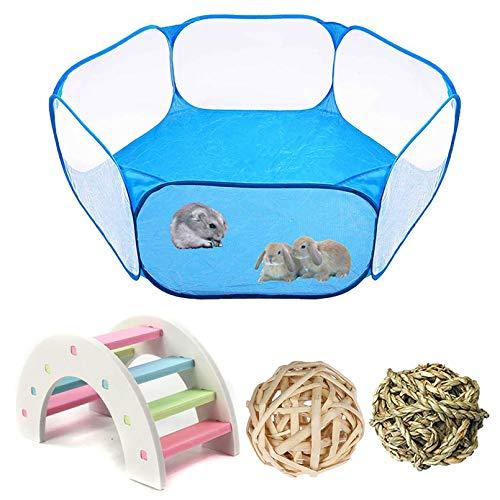 PINVNBY Kleintier-Zelt, tragbarer Haustierkäfig, Outdoor-Sport, Zaun, Hamster, Regenbogenbrücke, Ratten, Kauspielzeug, Ball für Meerschweinchen, Kaninchen, Chinchillas, Igel