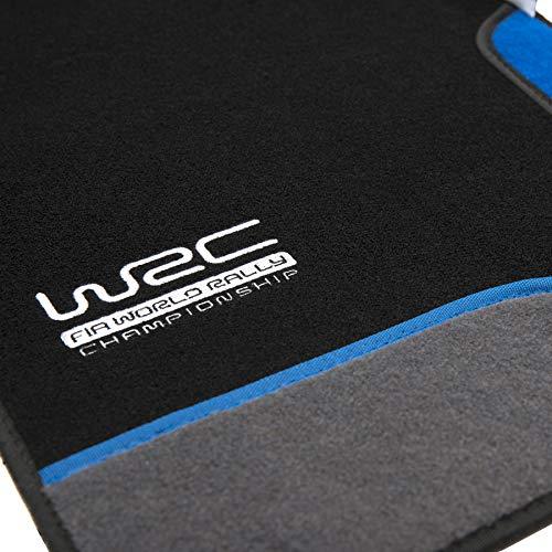 WRC 007436 4 Tapis de Voiture Moquette Blue Race, brodés