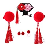 Crazy-Store 3pcs Tassel Hair Clip Flower Chinese Style Headdress Girl Sweet Jewelry