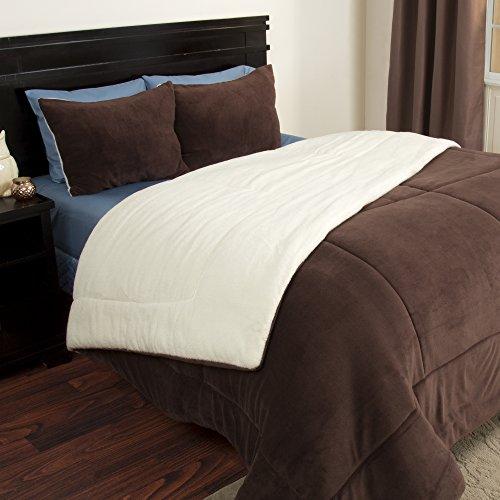 Bedford Home 2-Piece Sherpa/Fleece Comforter Set, Twin, Chocolate