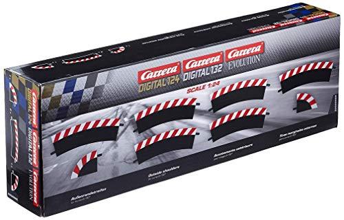 Carrera - rail et accessoire pour circuit - 20020562 - 1/24 et 1/32 - Carrera Evolution -Carrera Digital 132 et 124 - Bordures extérieures pour les courbes 2/30° (6), embouts (2)