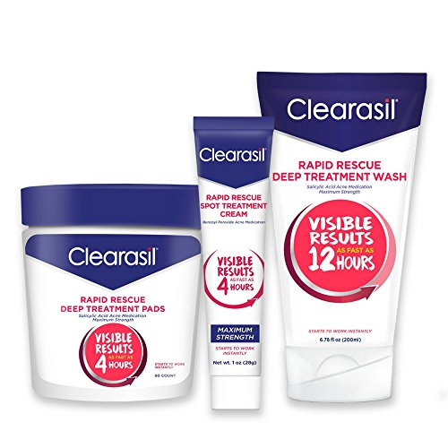 Clearisil Rapid Rescue Acne Control Kit- Deep Treatment Cleansing Pads (90 Count), Deep Treatment Wash (6.78 oz.) & Spot Treatment Cream (1 oz.) Salicylic Acid & Benzoyl Peroxide Treatment, 1 Each