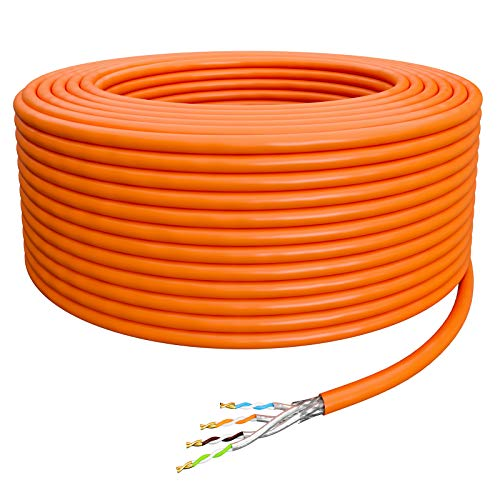HB-DIGITAL 25m Netzwerkkabel LAN Verlegekabel Ethernet Kabel Cat 7 Kupfer Installationskabel Profi S/FTP PIMF LSZH Halogenfrei Orange RoHS-Compliant cat. 7 Cat7 AWG 23/1