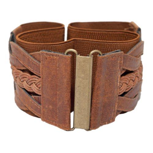 eVogues Plus Size Braided Elastic Stretchy Retro Wide Waist Cinch Belt Brown - One Size Plus