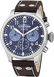 Chronograph mit blauem Ziffernblatt Fliegeruhr Flieger Uhr Blau Braun Ø 47mm