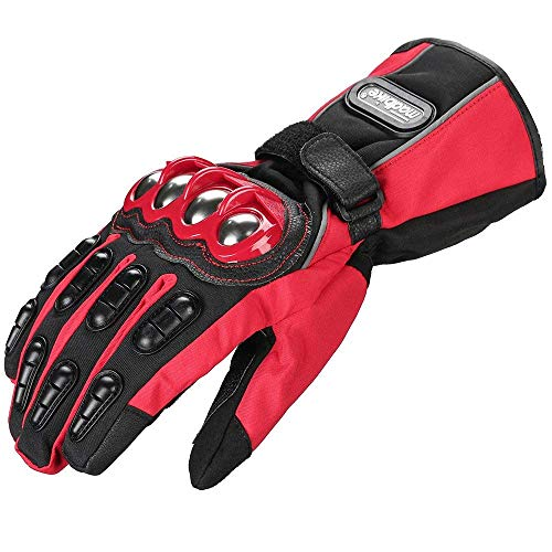 ILM Alloy Steel Motorcycle Riding Gloves Warm Waterproof Windproof for Winter Use (M, RED(WINTER))