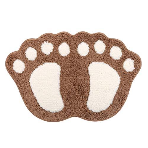 Weryffe Niedliche Füße gemusterte Badematte rutschfeste Schlafzimmer Küche Flur Tür Fußmatte Bodenmatte Küchenmatten Badezimmerzubehör,Braun
