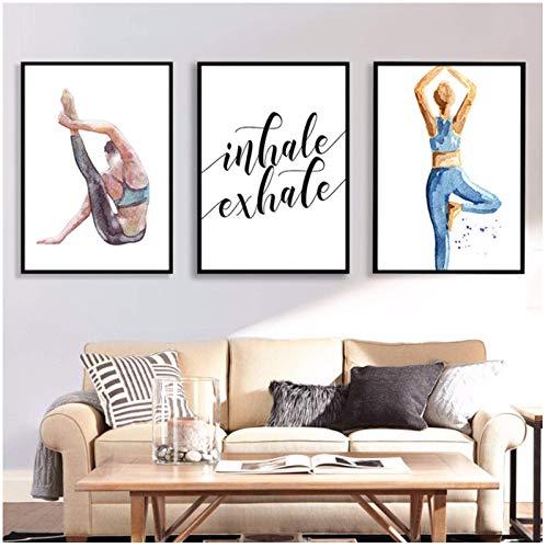 Estilo nórdico Decoración para el hogar Impreso Ser una mujer de yoga Imágenes Arte de la pared Cartel de la lona Fondo de cabecera moderno -20x28inx3 Sin marco