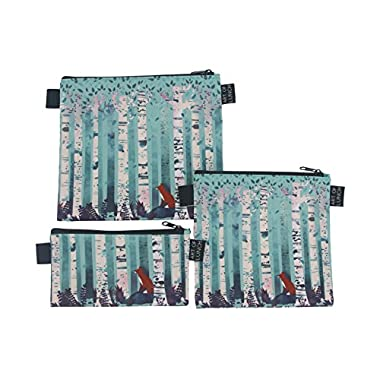 Designer Lunch Bags for Men & Women, Boys & Girls, Insulated, Fashionable, Reusable, Neoprene, Snack & Sandwich Bags w Zipper, Art & Makeup Bag - Design by Michelle Li Bothe (Germany) - Birches