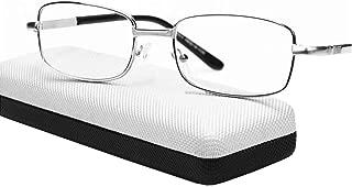 Gafas de Lectura rectangulares de Cristal,Marco de Metal Visión Ultra Clara Alivia la Fatiga Ocular Lector de Lectura de bisagra metálica,+2