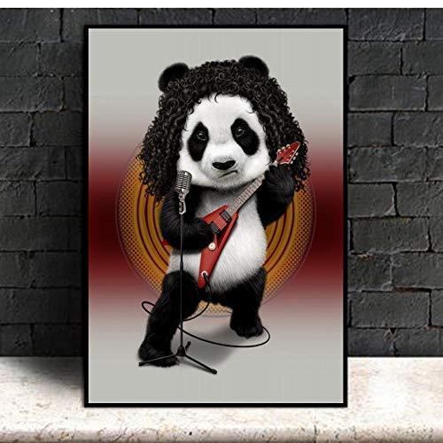 Terilizi Cartoon Panda gitaar poster afdrukken dieren canvas schilderij kinderkamer babykamer muurkunst schilderij schilderij voor de woonkamer kinderen huisdecoratie 30X40cm niet-ingelijst