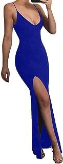 Women's Sexy Bodycon Sleeveless Spaghetti Strap V-Neck Evening Long Dress