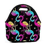 Bolsa de almuerzo portátil de neopreno, diseño de flamenco, con correa de cremallera, bolsa de picnic, viajes al aire libre, bolso de mano de moda, para mujeres, hombres, niños y niñas