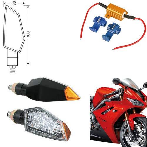 90088 + 61 Paire Clignotants LED Moto Honda CRF 250 indicateurs Direction résistance homologuées universels Moto Noires