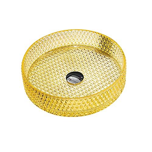 GLYYRLR Lavabo Cristal, Lavabo sobre Encimera Cilíndrico Lavabo Vidrio Instalación en Encimera Lavamanos Cristal Baño con Desagüe Emergente, 400×400×105mm,Yellow a