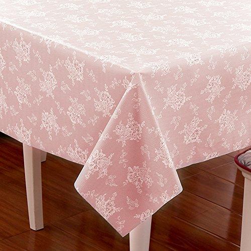 HM&DX Jacquard Tischdecken Wasserdicht Auslaufsicher Dekorationen Tischtuch schutzfolie Folie Tisch für esszimmer küche-Rosa 100x100cm(39x39inch)