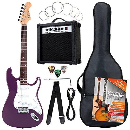 Rocktile ST Pack guitarra eléctr Set lila incl. ampl, bolsa, afinador, cable,...
