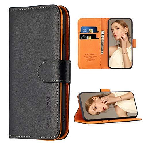 FMPCUON Hülle Case Kompatibel mit Xiaomi Poco M3 - Premium PU Leder Brieftasche Handyhülle - Handy Lederhülle Cover Schutzhülle Etui Tasche Book Klapp Style Handytasche, Schwarz