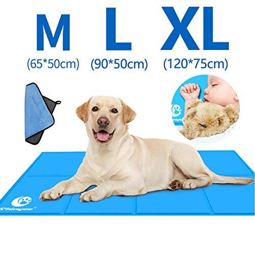 Shinyee Kühlmatten für Hunde Kühlmatte Hunde Katzen Kuhlmatte Hunde Kühlkissen und Katzen Kühl Hundedecke Kaltgelpad für Zuhause Katzen und Hunde Selbstkühlende Matte Blau für Zuhause (XL:120x75CM)