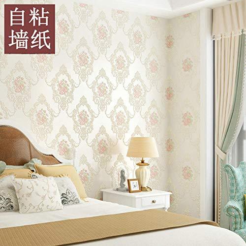 Amerikaans pastel-fotobehang vliesbehang zelfklevend met fijne druk fotobehang grote bloem Europese stijl TV achtergrond woonkamer slaapkamer 1 rol 602-5m White