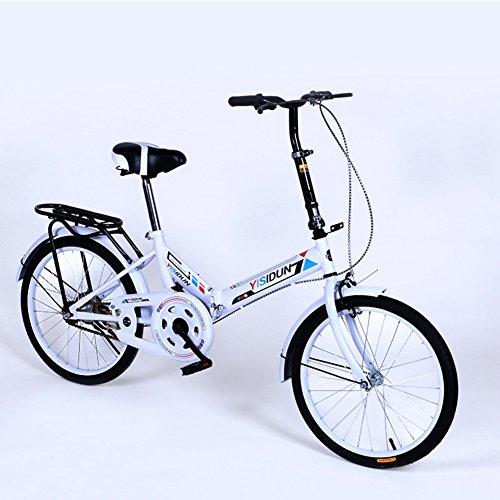 YEARLY Klapprad Damen, Erwachsene klappräder Damen fahrräder Männer und Frauen Stil Student-Auto Klappräder-Weiß 20inch