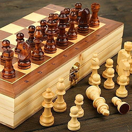 "RJ Mart 11""X 11"" Wooden Folding Chess Set,Handmade Game Board Interior for Storage for Adult Kids Beginner Chess Board"