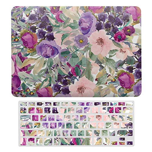 Plastic Hard Shell Case & Keyboard Cover Compatible with MacBook Air 13 (Models: A1466、A1369), Purple Pink Boho Watercolor Flowers Laptop Keyboard Membrane Protective Shell Set