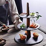 Politice Slate Cupcake Stand - Bandeja de Pastel de 3 Niveles Bandeja de pastelería Antideslizante Sushi Postre Soporte de exhibición Plato de Servicio para la Fiesta Pastel de Bodas Postre