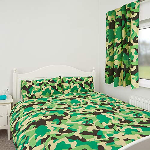 Zappi Co | Green Camo Camouflage Kids Boys & Girls Bedroom Duvet Cover Bedding Range (Double Duvet Cover)