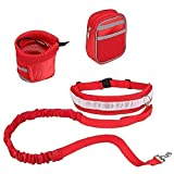 CUGLB Hände Frei Joggingleine mit Bauchgurt, Elastische Hundeleine Hands Free Leine Zubehör für Hunde Hundeleinen Set Reflektierende Bauchgurt mit 2 or 3 Tasche Taille (Rot) - 2