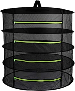 Goolsky Hanging Basket 4 Layers with Zipper Folding Dry Rack Herb Drying Net Dryer Bag Mesh For Herbs Flowers Buds Plants
