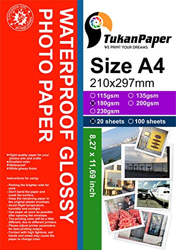 "Photography Glossy White Paper 8.3""x11.7"" A4 Size 20 sheets weight 180gsm. Dries Quickly best finish colors and Look Pictures print for all inkjet printer (210 x 297mm)"