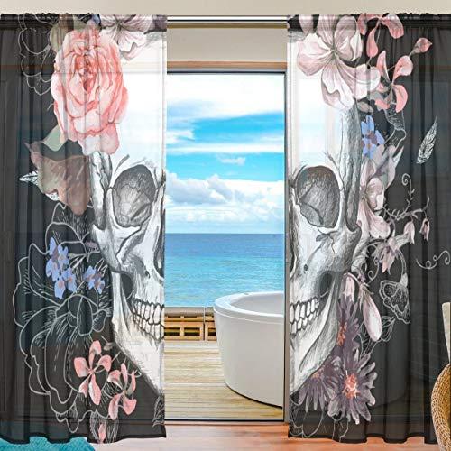 Eastery Rose Fleur Morte De Sucre De Sucre Motif Imprimer Polyester Simple Style Tulle Voile Rideau Fenêtre Panneaux Sheer Pour Chambre Salon Décor Traitement Drapés Set 139,7 X 198,1 Cm