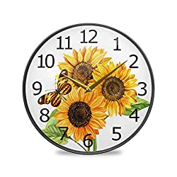 ALAZA Watercolor Bouquet of Sunflowers and Butterfly Acrylic Painted Silent Non-Ticking Round Wall Clock, 11.9 Inch Battery Operated Quiet Bathroom Clock for Living Room Bedroom Kitchen Office Decor