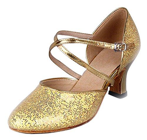 Honeystore Damen's Criss Cross Riemen Metallschnalle Tanzschuhe Gold 39.5 EU