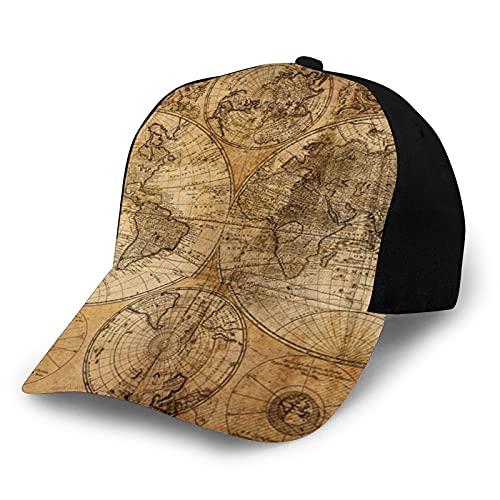mengmeng Gorra de béisbol unisex estilo vintage, ajustable, el misterio de los mapas medievales extraordinariamente precisos, casqueta para papá, transpirable, para deportes al aire libre, color negro