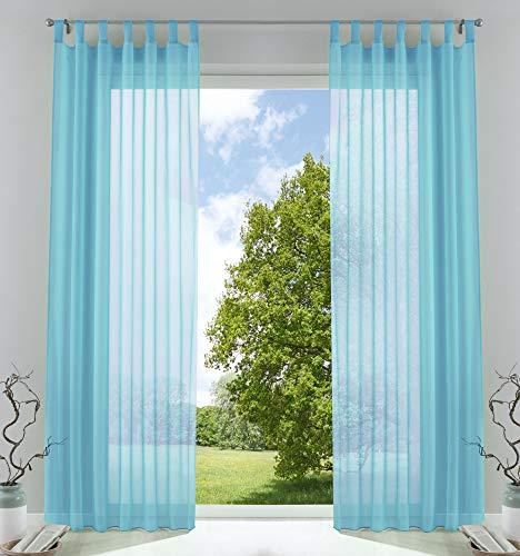 2er-Pack Gardinen Transparent Vorhang Set Wohnzimmer Voile Schlaufenschal mit Bleibandabschluß HxB 245x140 cm...