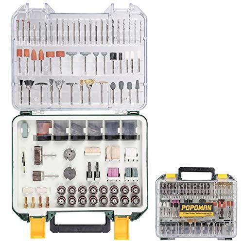 POPOMAN Rotary Tool Accessories Kit, 313pcs Grinding Polishing Drilling Kits, 1/8