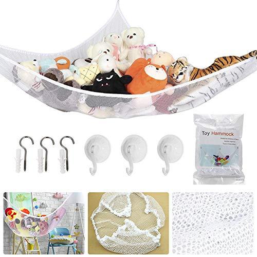Toy Storage Hammock, BESTZY Extra Large Toy Hammock Storage Net Organizer for Teddys, Stuffed Animals, Nursery Play, With 6 Strong Hooks (180 * 120 * 120 CM) (White)