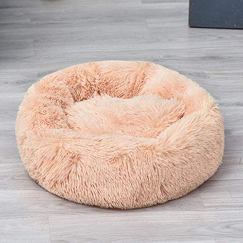 Promworld Deluxe Pet Bed for Cats and Dogs,Keep warm in autumn and winter-cream color_Outer diameter 50cm,Dog Cat Cushion Bed Sleeping Bag and Improved Sleep