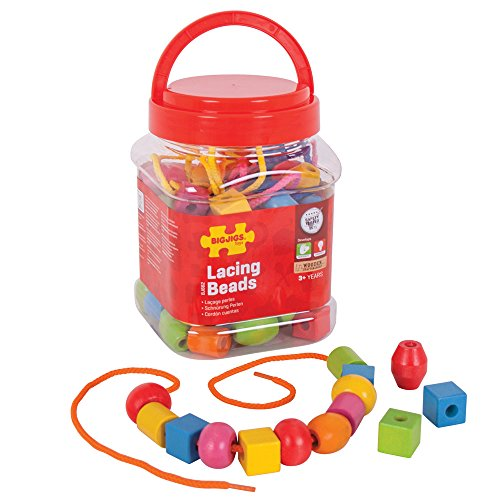 Bigjigs Toys Bocal de Perles à Lacer
