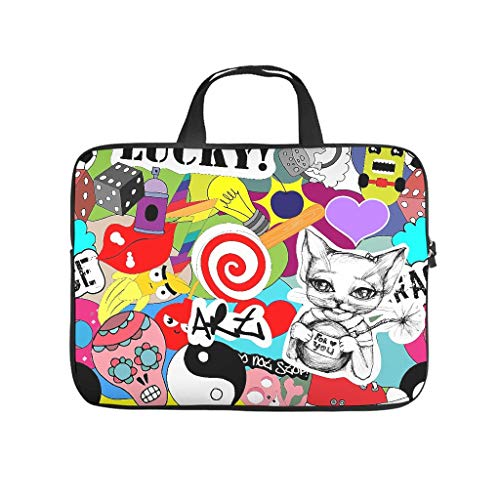 Colourful Graffiti Mix Elements Double Sided Printed Laptop Bag Protective Case Waterproof Neoprene Laptop Case Bag Personalized Notebook Bag for Friends Family