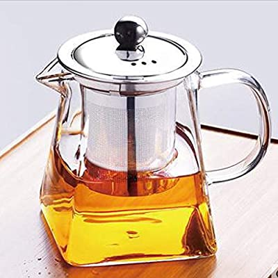 nutmeg Glass Teapot with Infuser, Borosilicate Glass Tea Pot with Tea Strainers for Loose Leaf Tea, with Removable 304 Stainless Steel Infuser, Microwavable and Stovetop Safe (750 ml/25.3 OZ?)