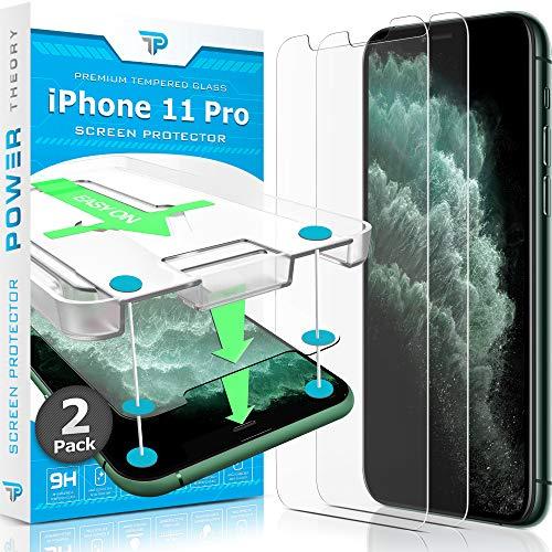 Power Theory Panzerglas für iPhone 11 Pro [2 Stück] - Schutzfolie mit Schablone, Panzerglasfolie, Panzerfolie, Glas Folie, Bildschirmschutzfolie, Schutzglas